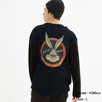 (GU)ビッグT(長袖)Bugs Bunny2 NAVY XL