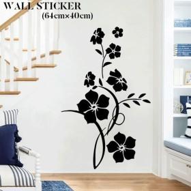 ウォールステッカー ウォールシール フラワー 花 モノクロ 貼ってはがせる 壁紙シール ステッカー シール 壁面装飾 壁装飾 装飾 飾り付け PVC