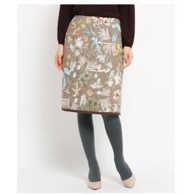 SunaUna(スーナウーナ)【洗える】フラワー&ネップツイード柄スカート