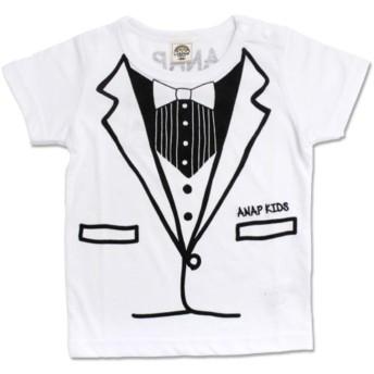 【50%OFF】 アナップキッズ タキシードプリントTシャツ レディース ホワイト 110 【ANAP KIDS】 【セール開催中】