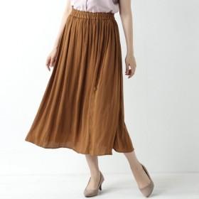 スカート レディース ロング ナイルサテンギャザーロングスカート 「キャメル」