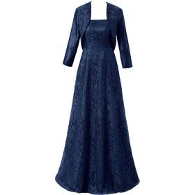 披露宴用母親ドレス ママのドレス ロングドレス 新婦の母ドレス パーティードレス ラウンドネック ボレロ 2ピースドレス レース ステージ コンサート ピアノ -7-紺色