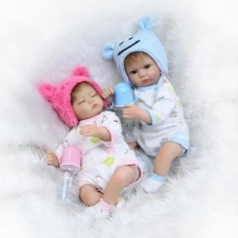 クマ耳 男女双子セット リボーンドール 赤ちゃん人形 ベビー人形 リアル ハンドメイド /おしゃぶり 哺乳瓶 17インチ
