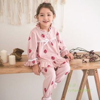 キッズ パジャマ 女の子 ピンク 春秋 綿100% リボン 前開き ルームウェア 長袖 フリル おしゃれ かわいい 子供