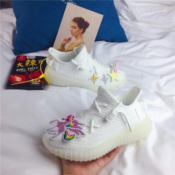 原宿白冰淇淋刺繡款鞋韓版小仙女椰子跑步鞋女情侶學院風運動鞋潮 瑪麗蘇