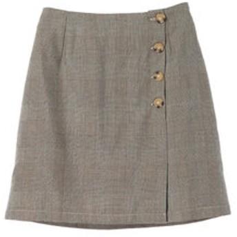 【E hyphen world gallery:スカート】グレンチェックラップスカート