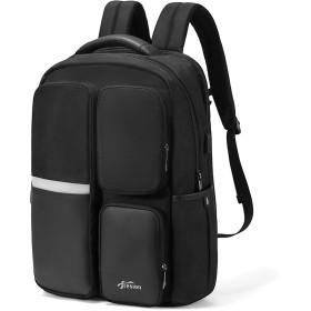 Fresion リュック メンズ 大容量 バッグ ビジネス PC収納 出張・旅行・通勤に バックパック ポケットが多い usbポート付き 黒