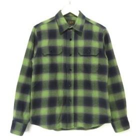 CALEE キャリー 長袖 オンブレ チェックシャツ 緑 S  【中古】20006481