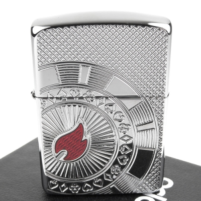 ZIPPO 美系~Poker Chip-撲克籌碼深刻圖案打火機(ARMOR裝甲)