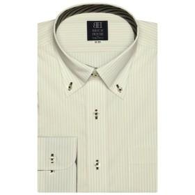 [マルイ] 形態安定 ノーアイロン 長袖ワイシャツ ボタンダウン 白×ベージュストライプ 標準体/ブリックハウス(BRICKHOUSE)