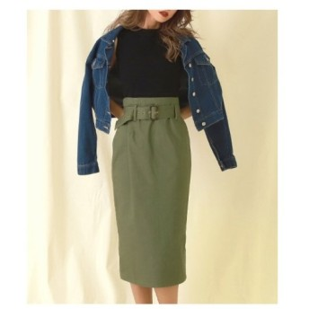 ANAP(アナップ)【CHILLE】ベルト付ツイルナロースカート