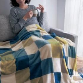 ブロックチェックのプレミアムマイクロファイバー毛布