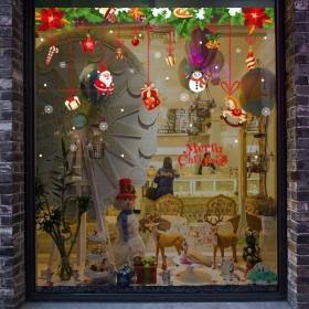 ウォールステッカー 壁紙シール クリスマス 貼ってはがせる X'mas 壁シール ガラス 窓 オーナメントモチーフ メリークリスマス Merry Ch