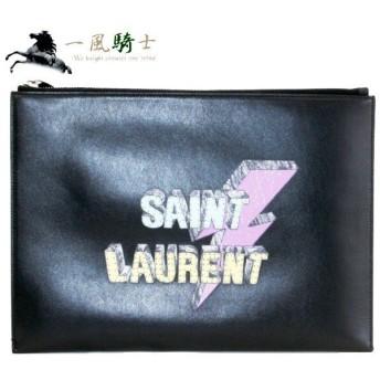 SAINT LAUREN PARIS クラッチバッグ レザー ブラック 397295 中古 (332597)