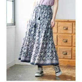 【ROPE' PICNIC:スカート】【WEB限定】パネル柄ティアードスカート