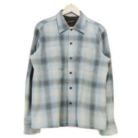 RADIALL ラディアル ウール チェックシャツ 水色 グレー M 長袖 【中古】70002014