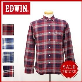 EDWIN エドウィン インディゴ チェック ワーク シャツ オーバーチェック フラップ ポケット 長袖 メンズ エドウィン ET2048