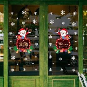 ウォールステッカー 壁紙シール クリスマス 貼ってはがせる 雪の結晶 X'mas 壁シール ガラス 窓 サンタクロース メリークリスマス Merry