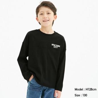 (GU)BOYSドロップショルダーロゴT(長袖) BLACK 110cm