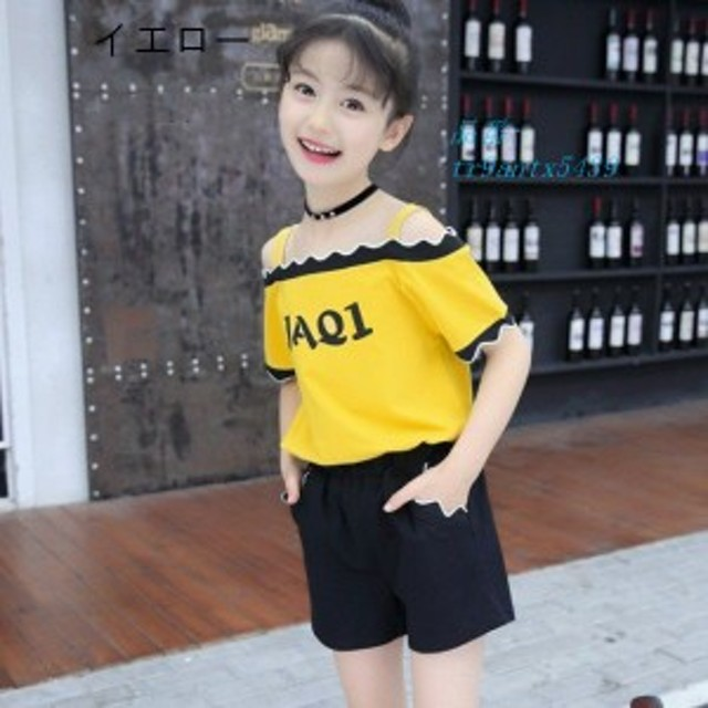 子供服 女の子 半袖 風 イニシャル Tシャツ カジュアル シンプル キッズ セットアップ パンツ 通学着 夏 2点セット 普段着 かわいい 110