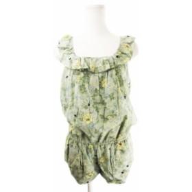 【中古】ジルスチュアート  オールインワン サロペット コンビネゾン ノースリーブ パンツ ショート 絹混 花柄 0 緑