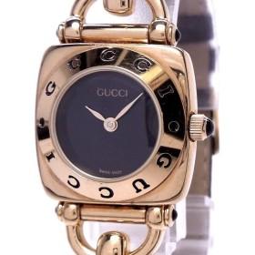 【中古】グッチ レディース腕時計 クォーツ GP レザーベルト ブラック文字盤 6300L