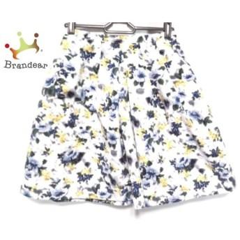 アプワイザーリッシェ スカート サイズ1 S レディース 美品 白×ブルー×マルチ 花柄 新着 20190817