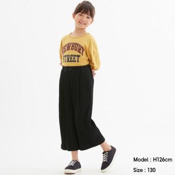 (GU)GIRLSリブワイドパンツ BLACK 120