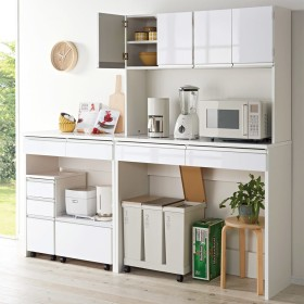 キッチン通路をキレイにする!下オープンダイニングシリーズ キッチンボード・幅120cm高さ190cmホワイト
