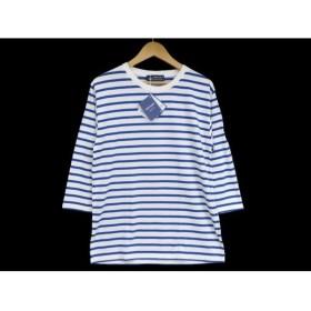 未使用 SAINT JAMES セントジェームス 七分袖Tシャツ ボーダー Tee  青 白 T4 メンズ 中古【中古】20009683