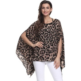 Women Loose Batwing Sleeve Tee Shirts Chiffon Solid Color Blouse Summer Boho Floral Tops (25)