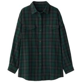 (GU)フランネルチェックロングシャツ(長袖)B+E DARK GREEN S