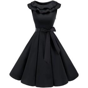 Bridesmay 結婚式ワンピース レトロ お呼ばれ 襟付きワンピース ノースリーブ ベルト付き パーティードレス レディース ブラック Lサイズ