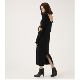【AZUL by moussy:ワンピース】BACK SLIT RIB KNIT ONE PIECE