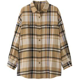 (GU)フランネルチェックロングシャツ(長袖)A+E BEIGE XS