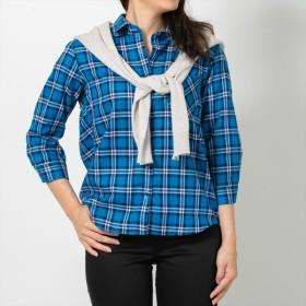 [マルイ]【セール】形態安定 ノーアイロン Wガーゼ七分袖シャツ レギュラー衿 ブルー系チェック/ブリックハウス(BRICKHOUSE)