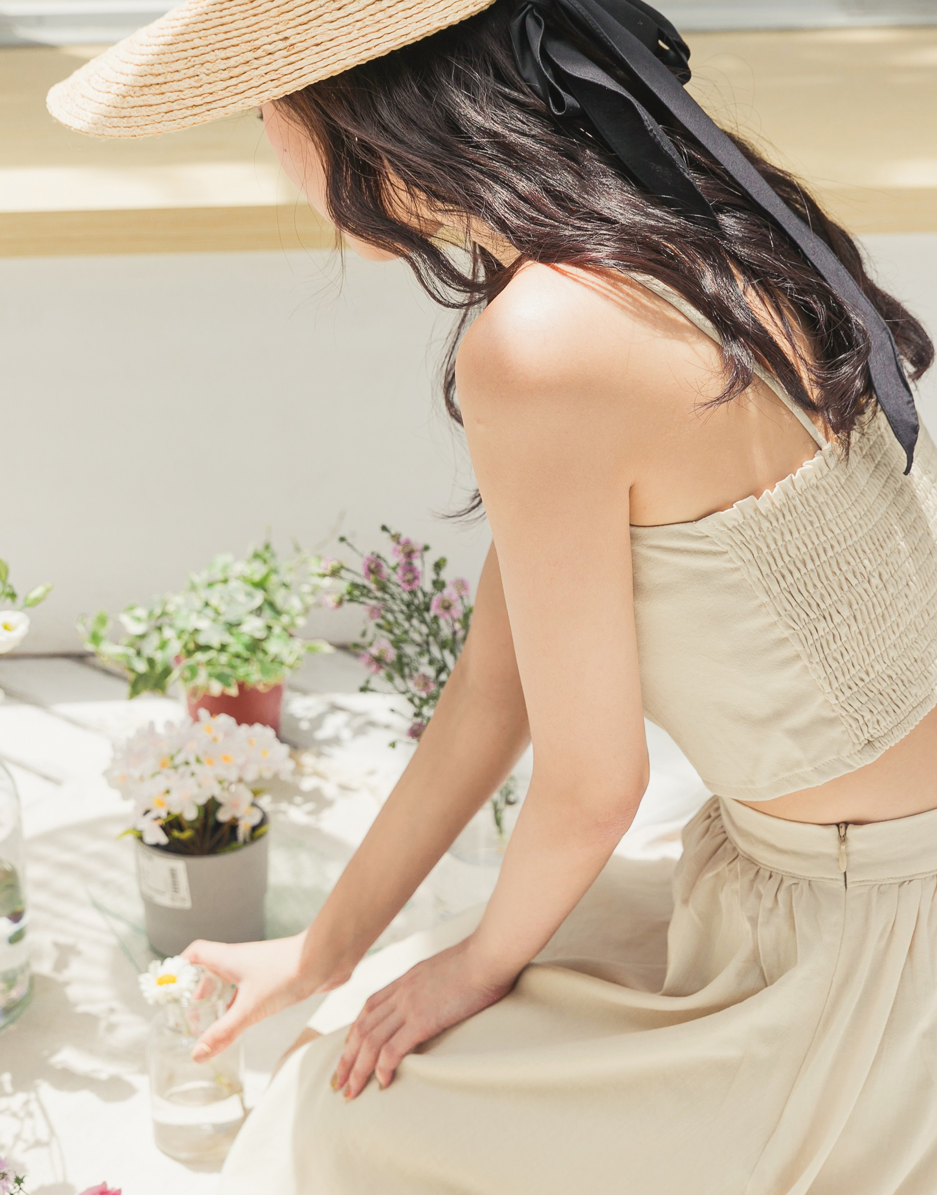 PAZZO+夏日渡假清新棉麻兩件式套裝
