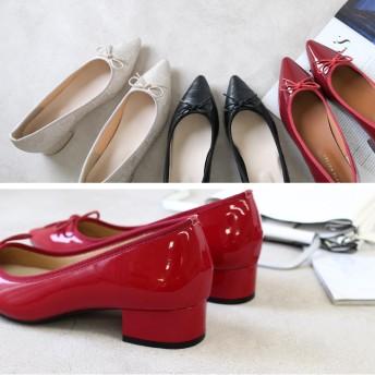 パンプス - AmiAmi GINGER4月号掲載3.5cmヒール ポインテッドバレエシューズSS~3Lサイズ 太ヒール リボンバレエパンプスチャンキーヒールポインテッドトゥ 春 エナメル レッド 赤 低反発 痛くない シューズ 靴