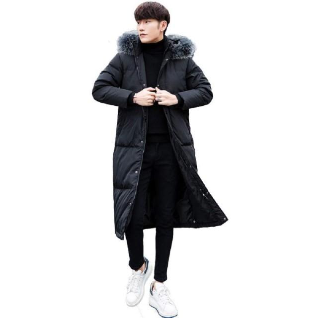 【サイズ有S/M/L/XL/2XL】ダウンジャケット メンズ ロング メンズ 超ロング 防風 ロングダウンジャケット コート 90%ダウン 大きいサイズ 帽子付き アウター ロング かっこいい メンズファッション 防寒 雪 ダウンコート あったか ブラック (XXL)