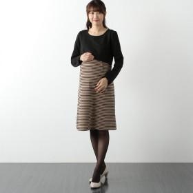 授乳対応マタニティ長袖T/Puリップルワンピース【通勤 きれいめ】