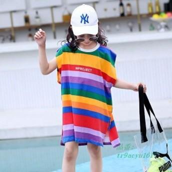 ロングTシャツ Tシャツ 女の子 140 ゆったり 純綿 Tシャツ 130 個性 110 半袖Tシャツ キッズ 夏 120 子供服 個性 ストライプ 虹色 150 夏