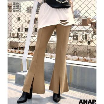 【セール開催中】ANAP(アナップ)カットリブフロントスリットフレアパンツ