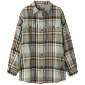 GU フランネルチェックロングシャツ 長袖