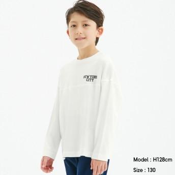 (GU)BOYSドロップショルダーロゴT(長袖) OFF WHITE 140cm
