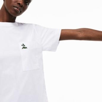 コットンポプリンクルーネックTシャツシャツ