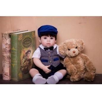 リボーンドール おしゃれな男の子 クマさん付き トドラー人形 赤ちゃん人形 ベビー人形 ベビードール 綿&シリコン 50cm