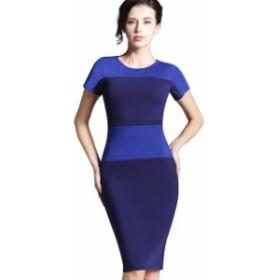 ドレス ヨーロッパスタイル 女性 夏 ひざ丈 パーティー blue
