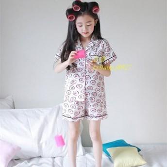 部屋着 パジャマ セットアップ 女の子 子供服 Tシャツ ショート ジュニア 夏休み イラスト ドーナツ柄 キッズ パンツ キッズ 子供
