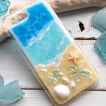 iPhone8Plus/7Plus プルメリア マリンブルー&ターコイズブルー