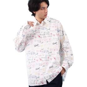 (エイト) 8(eight)総柄 ビッグシャツ オーバー ビッグシルエット ホワイトB F